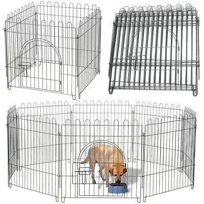 "24"" 8 Panel Foldable Playpen Dog Cage Puppy Fence Rabbit Run Kennel Pet Supply"