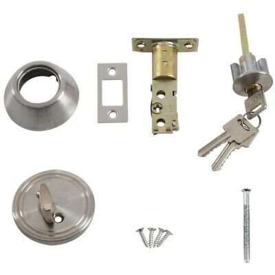 Home Door Locking Security Single Cylinder Deadbolt Lock Silver Tone ED