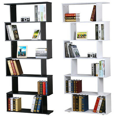 6 Tier Bookshelf S Shape Book Storage Display Home Durable Wooden Stand