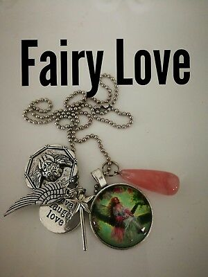 Code 438 FAIRY LOVE Cherry Quartz Angel Teardrop Infuse Necklace Live Laugh Love