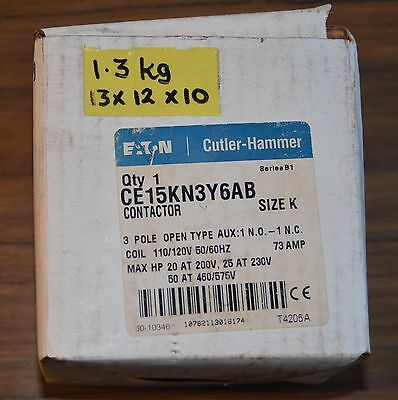 Cutler-Hammer CE15KN3Y6AB Contactor K 73 Amp Contactor 3P Open Type 110V Coil