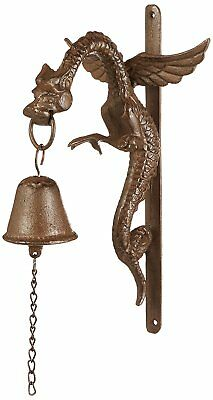 Dragon Gothic Doorbell Cast Iron Wall Sculpture Home Outdoor Decor Accent Gift
