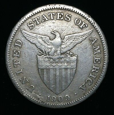1909s US-Philippines 1 Peso Silver Coin - lot #21A
