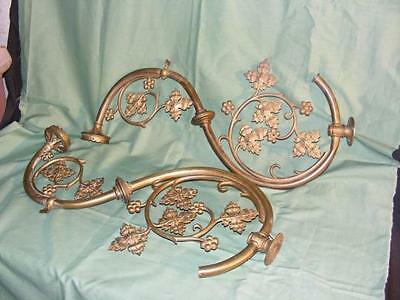 Very large pair of'appliques gas of 19TH bronze, vine grape