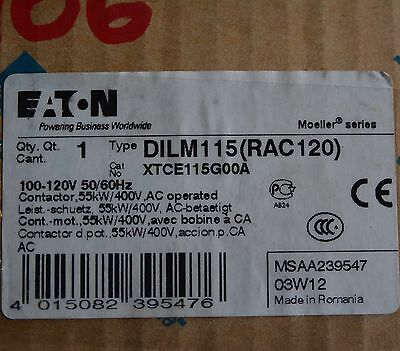 EATON Type DILM115 (RAC120) XTCE115G00A  Contactor 55kW/400V AC Op 100-120V Coil