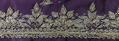 Scrap Bullion Embroidery Zardozi  Vintage Ribbon Lace Border Violet #zr24