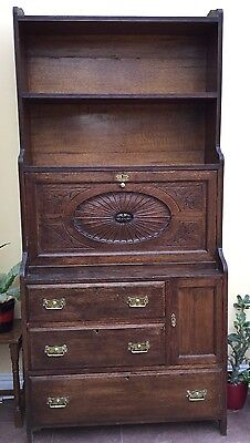 "Antique Oak Bureau. 6'6"" In Height Very Good Condition"