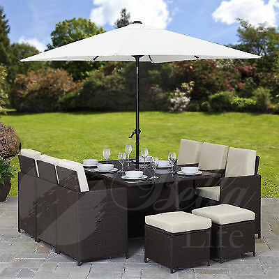 11 Piece / 10 Seater | PE Rattan Cube Table, Chair, Stool Set | Garden Furniture