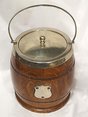 Antique Old English Oak Barrel Ice Bucket Bucket or biscuit Jar