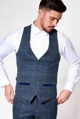Mens Marc Darcy Designer Navy Blue Check Tweed Wool Style Waistcoat Vest