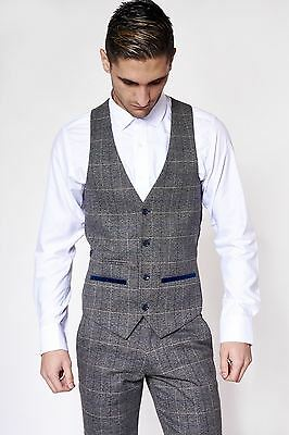 Mens Marc Darcy Designer Grey Check Tweed Wool Style Waistcoat Formal Vest