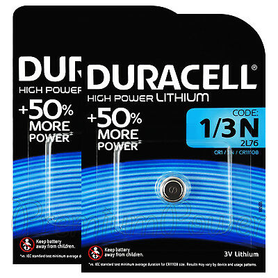 2 x Duracell Lithium 1/3N 3V Button Cell batteries 2L76 CR1/3N CR11108 EXP:2024
