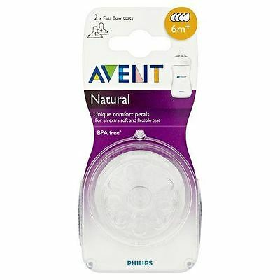 2 x Philips AVENT Natural Fast Flow Teats Baby Milk Bottle Silicone Teat 6m+ NEW