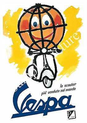 Vespa : Vintage Motor Scooter ad , Reproduction poster, Wall art.