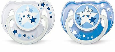 2 x Philips AVENT Orthodontic Baby Pacifier Night-Time Soothers 6-18m Blue NEW