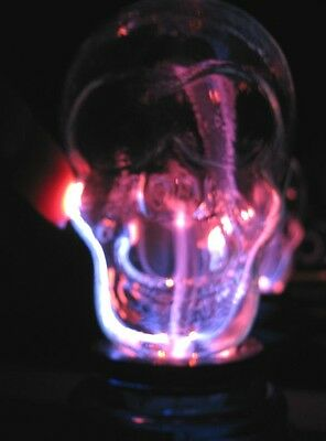 Skull Plasma Lamp Light Battery Powered Red Base New Reacts to Sound + Touch