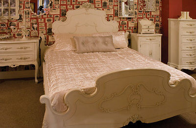 French Painted Rose Bedroom Set ~ Bed ~ Drawers ~ Bedside ~ Dressing Table ~