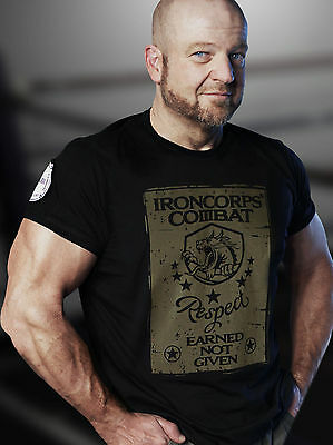 IRONCORPS Combat Men's Muscle-Cut Fitted Gym Street T-Shirt (Respect)