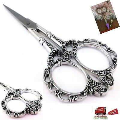Antique Silver Vintage Scissors European Plum Blossom Needlework Sewing Tool Gif