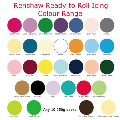 10x Ein Renshaw Ready To Roll Zuckerguss Fondant Kuchendekoration Backen 250g