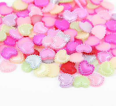 50pcs Approx. Faux Pearl HEARTS Embellishments Flat Back Mixed Colours Crafts