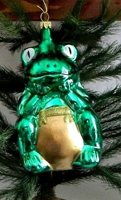 Large Lucky Shiny Green Tree Frog Toad  Blown Glass Christmas Ornament Germany