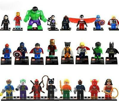 24pcs/Lot MiniFigures Toy Super Heroes Series Wolverine Superman Hulk Batman