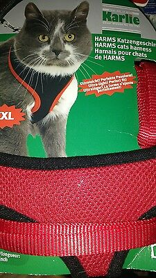 karlie cat harness lead set red xxl breathable mesh