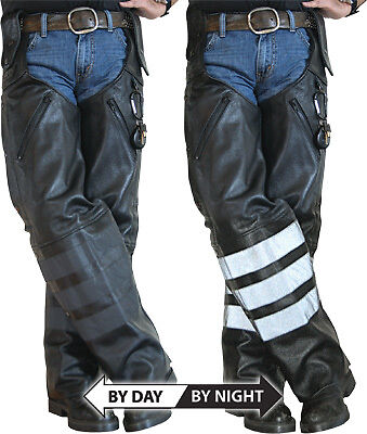 Missing Link Black Ops Reflective Leather Motorcycle Riding Chaps
