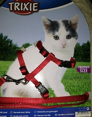 trixie cat harness lead set red kitten size adjustable