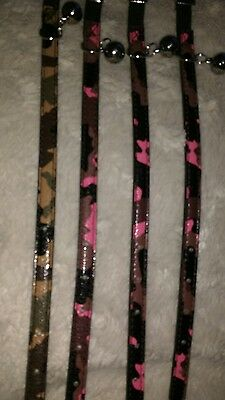 Camo CAT COLLAR LOT BUNDLE OF 4 COLLARS green and pink Camo Faux leather