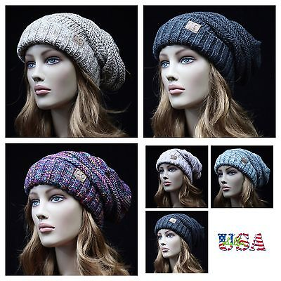 Women's Mens Beanie Cap Cable Knit Oversize Slouch Baggy CC Hats Winter Ski Hat