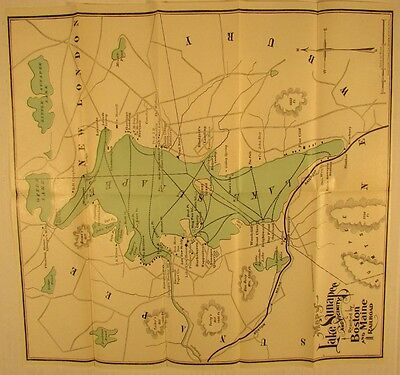 Lake Sunapee New Hampshire c.1900 old lithographed map hotels railroads