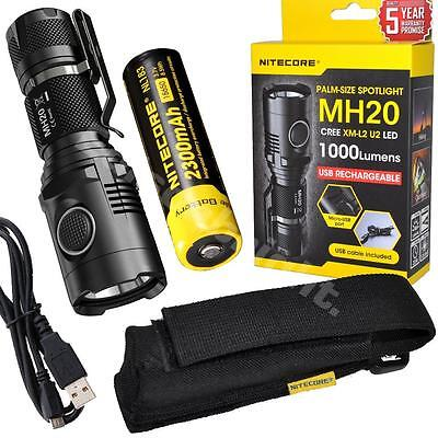 New NITECORE MH20 Cree LED 1000 Lumen USB Rechargeable Flashlight with Battery
