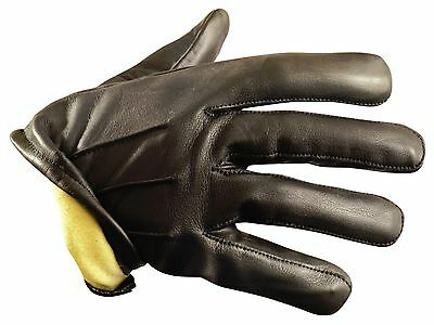 Kevlar Lined Leather Duty Gloves - Cut Resistant Kevlar Liner Size Large