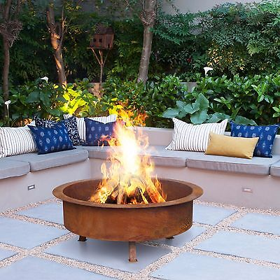 NEW Kalahari 80cm Rust 30kg Fire Pit Bowl Outdoor Fireplace Patio Heater Plant