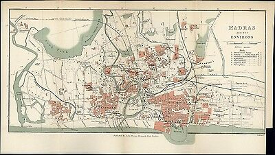 Madras India 1920's litho small nice detailed color city plan map