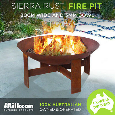 Sierra 80cm Rust Fire Pit NEW 3.5mm Bowl Outdoor Fireplace Patio Heater Plant