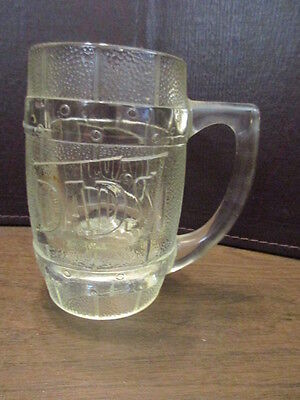 Vintage Dad's Root Beer Clear Glass Barrel Shaped Handled Mug -12 oz. - EMBOSSED