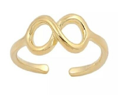 GENUINE 925 Sterling Silver 18k Gold Plated Infinity Adjustable Midi Toe Ring