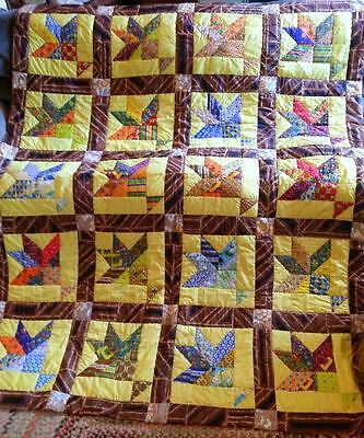 "Cactus Basket Quilt Bright Colorful Hand Crafted 70"" x 84"""