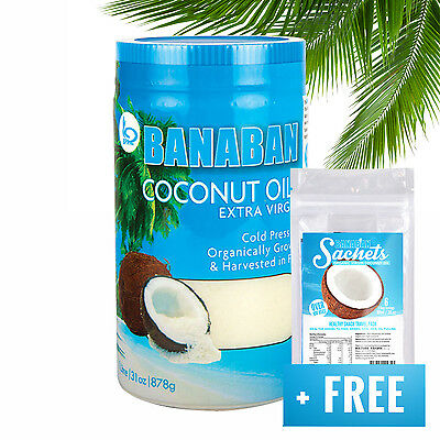 BANABAN Extra Virgin Coconut Oil Fiji 1 Litre +FREE Travel Pack & SHIPPING!