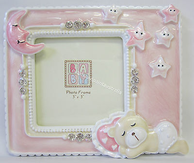New Photo Frame with Pink Teddy Bear Moon & Stars Diamontes Great Baby Girl Gift