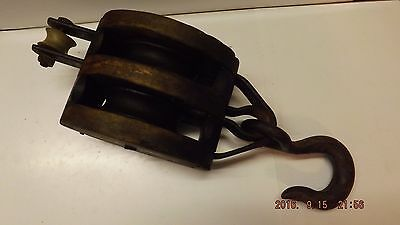 Vintage Double Wood Block Pulley W/ Metal Hook