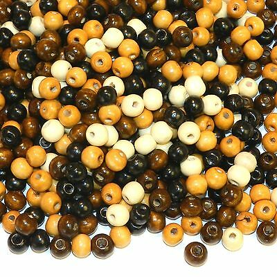 W731 Earthtone Brown Assortment 10mm Round Rondelle Wood Spacer Beads 100-Grams