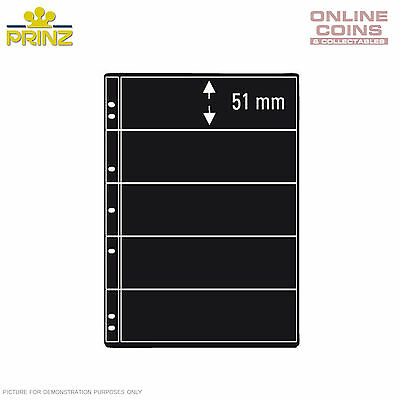PRINZ ProFil 5 Pocket Black Banknote/ Stamp Album Pages Pack of 5