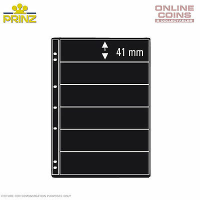PRINZ ProFil 6 Pocket Black Banknote/ Stamp Album Pages Pack of 5