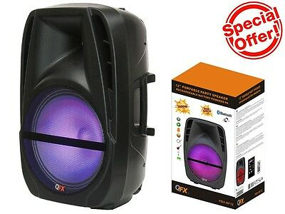 "QFX PBX-BF12 12"" Rechargeable Party Speaker +Bluetooth+USB/TF/FM+RGB Disco Light"
