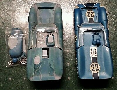 Two Vintage 1/24 K&B Lola T70 Slot Cars + Repro Decals