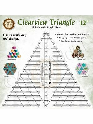 "Clearview Triangle Ruler - 12"" 60-degree Acrylic Material Quilting and Cutting"